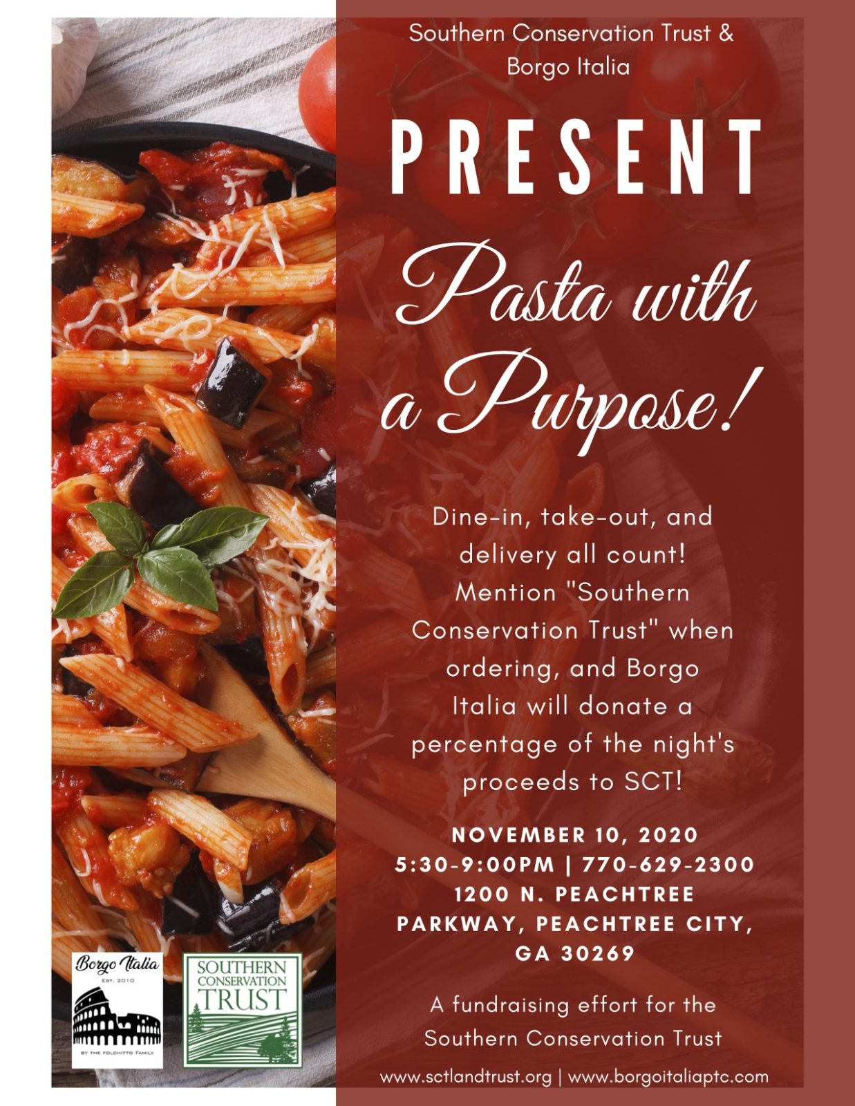 Pasta with a Purpose! Percentage Night Fundraiser with Borgo Italia @ Borgo Italia, Peachtree City